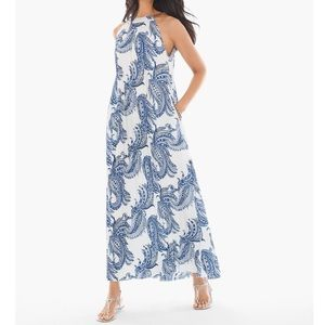 Chico's Summertime Paisley Pleated Maxi Dress NWT